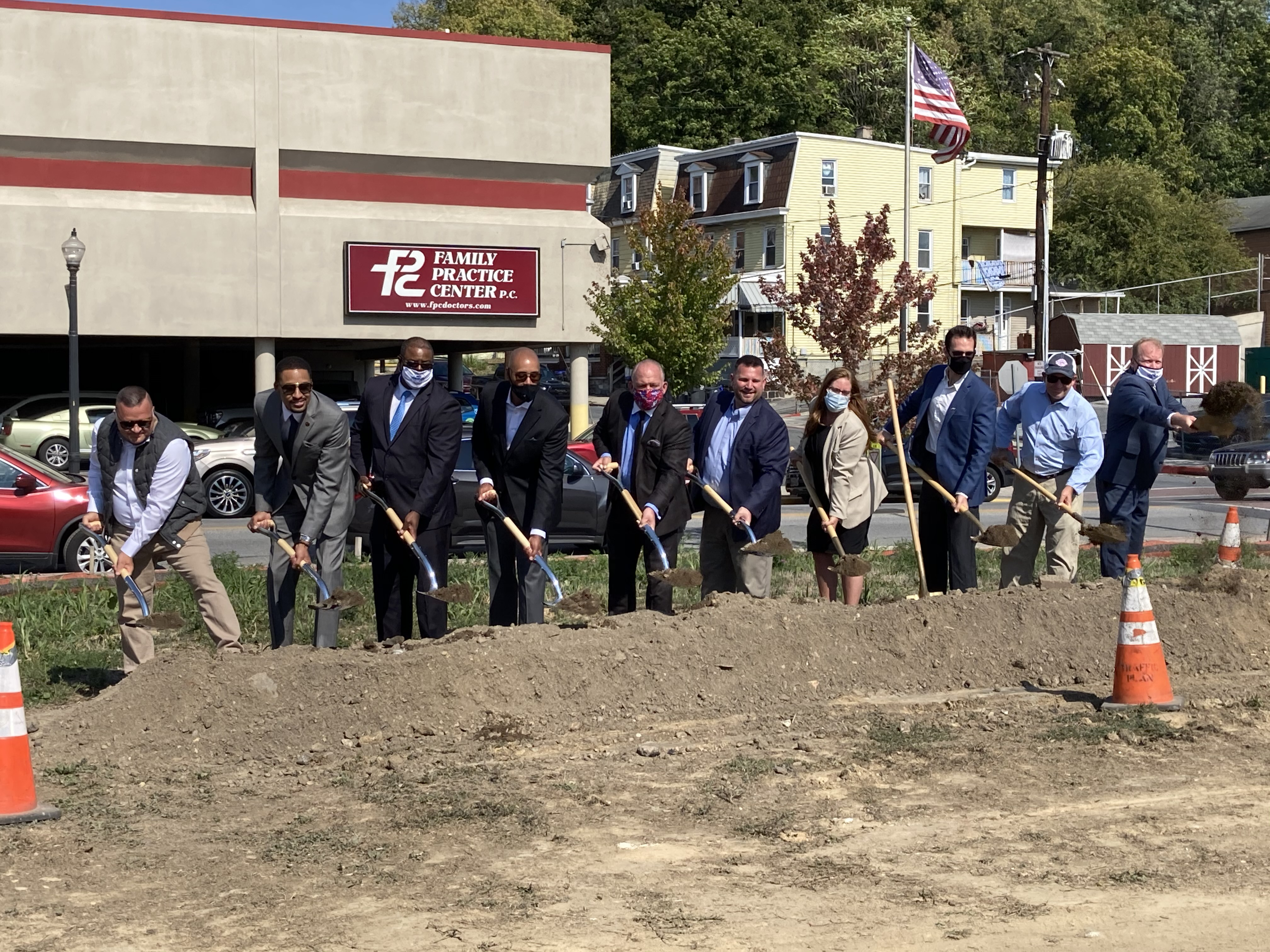 The development team at IDP, local Steelton officials and Dauphin County Commissioners break ground on the Steel Works project.